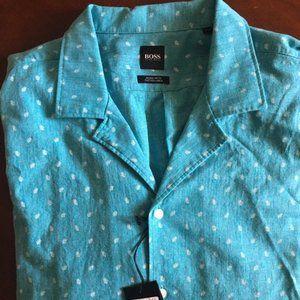 Hugo Boss Luka Cotton Linen Button Down Shirt